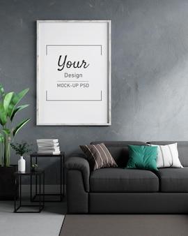 Maquette de cadres photo sur le mur à l'intérieur du salon