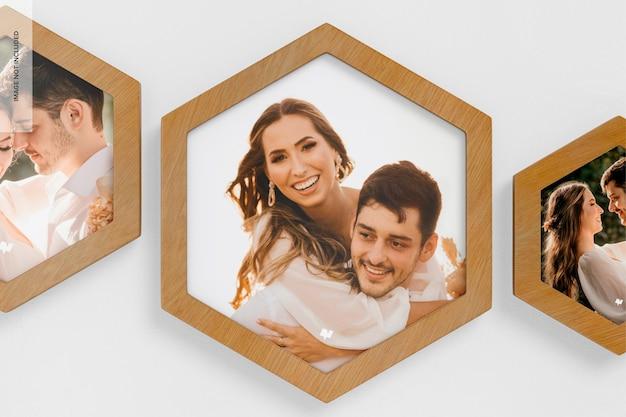 Maquette de cadres photo muraux hexagonaux, gros plan