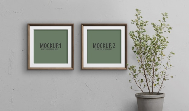 Maquette de cadres photo avec plante en pot