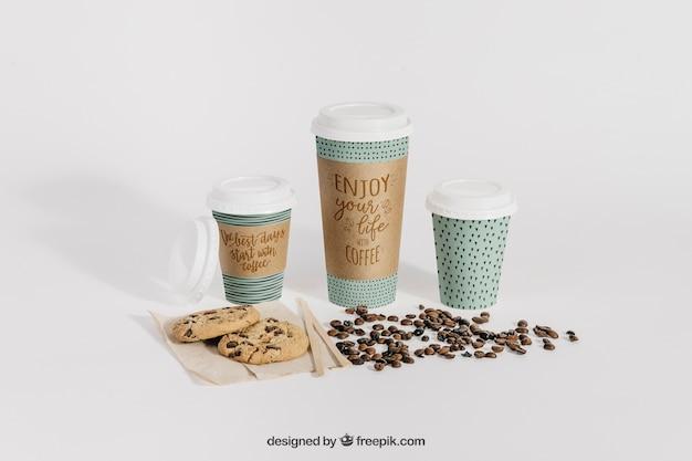 Maquette de café avec des tasses de différentes tailles