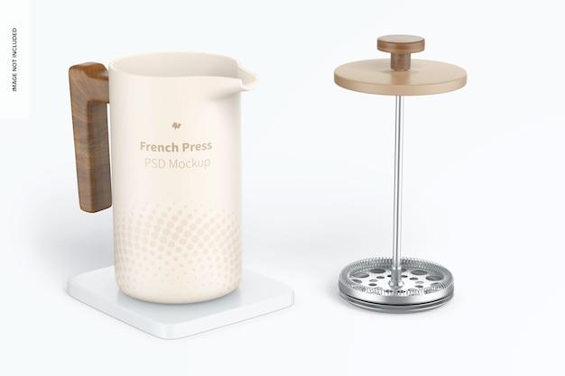 Maquette de cafetière à presse française, ouverte
