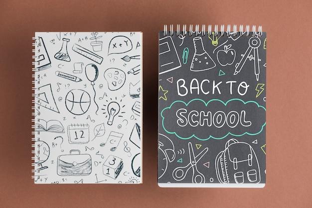 Maquette de cahier avec le concept de retour à l'école