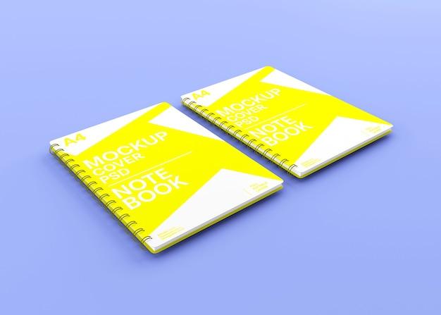 Maquette de cahier à couverture rigide à spirale réaliste