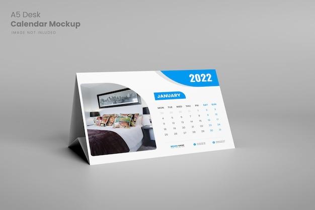 Maquette de calendrier de bureau a5 moderne en rendu 3d