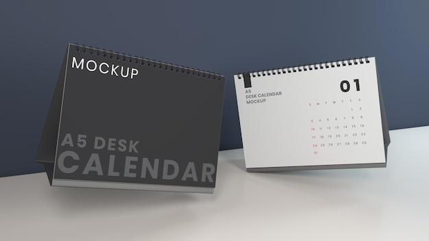 Maquette de calendrier de bureau horizontal flottant