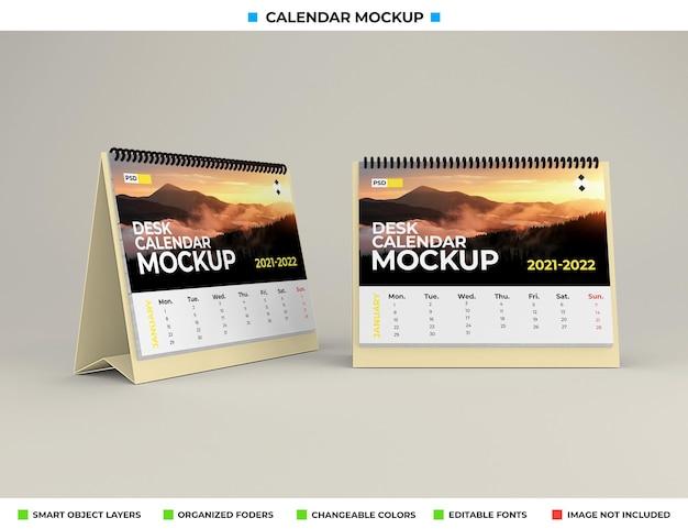 Maquette de calendrier de bureau isolée