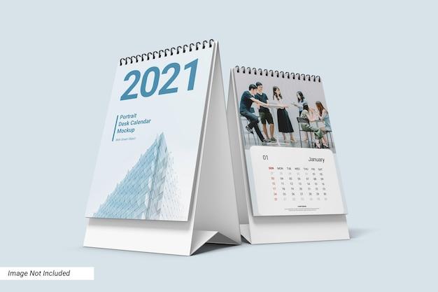 Maquette de calendrier de bureau portrait