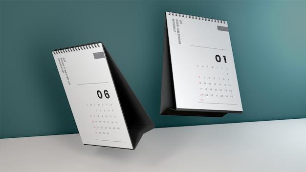 Maquette de calendrier de bureau réaliste flottant