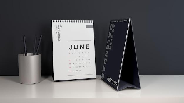 Maquette de calendrier de bureau vertical minimaliste