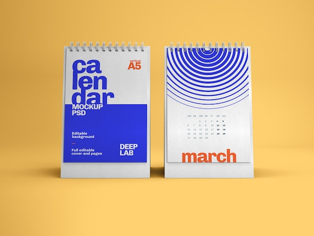 Maquette de calendrier de bureau vertical