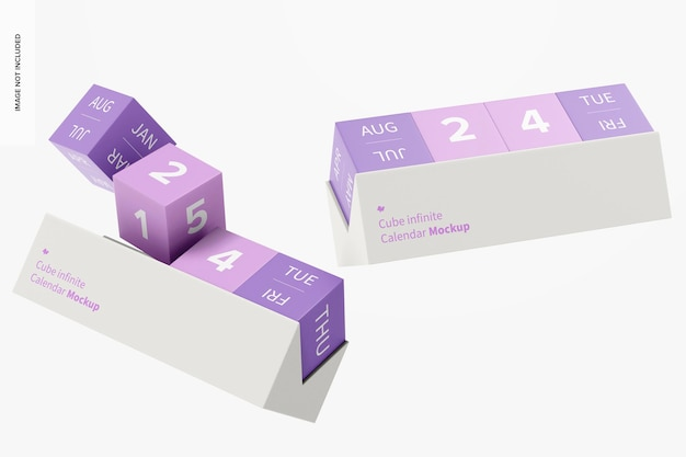 Maquette de calendrier infini de cube, flottant