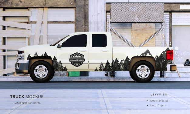 Maquette de camionnette à cabine double vue du côté gauche