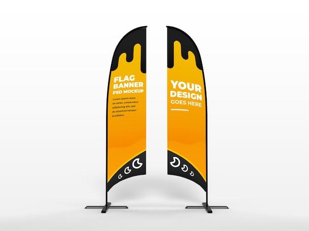 Maquette de campagne publicitaire et de marque de bannière verticale de drapeau réaliste des deux côtés