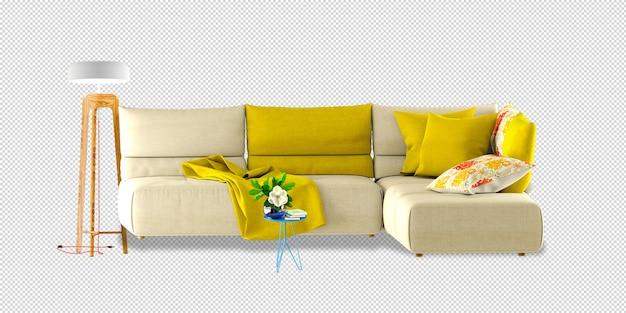 Maquette de canapé et de lampe en rendu 3d isolé