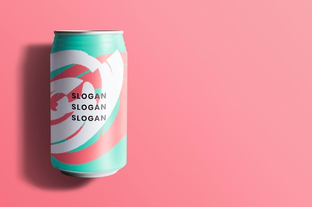 Maquette de canette de soda colorée pour la conception d'emballage de boisson