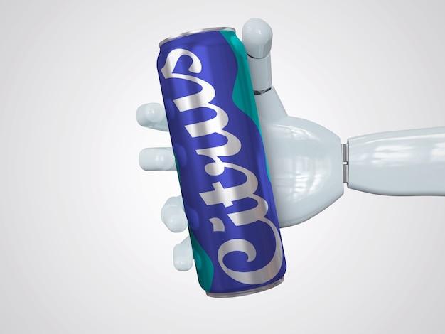 Maquette de canette de soda mince réaliste tenant à la main
