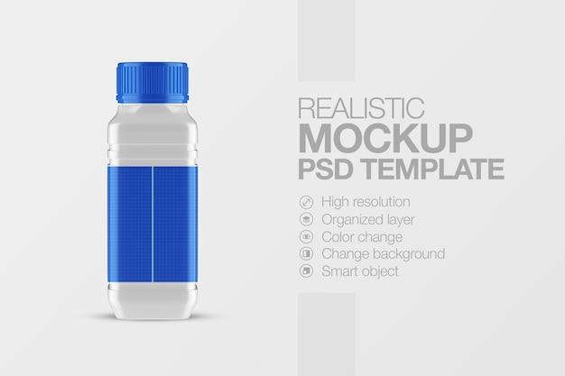 Maquette carrée de bouteille en plastique réaliste