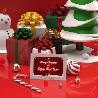 Maquette de carte-cadeau de table d'invitation de fête de noël et du nouvel an imprimée