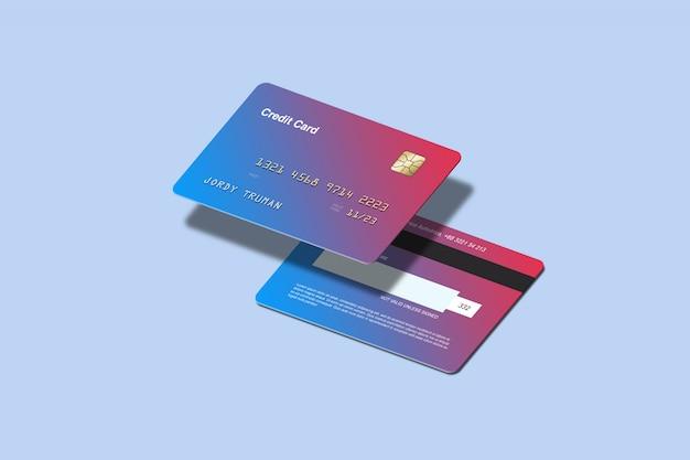 Maquette de carte de crédit isométrique
