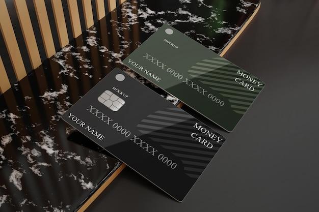 Maquette de carte de crédit en plastique carte de débit minimaliste de luxe