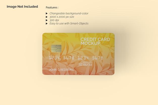 Maquette de carte de crédit vue de dessus