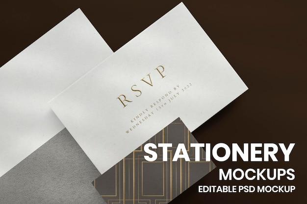 Maquette de carte d'invitation chic psd avec enveloppe noire