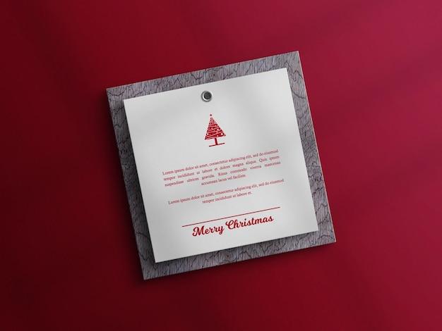 Maquette de carte d'invitation joyeux noël avec planche de bois