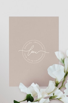 Maquette de carte d'invitation de mariage botanique
