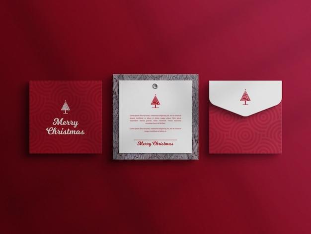 Maquette de carte d'invitation de noël décorative avec maquette d'enveloppe