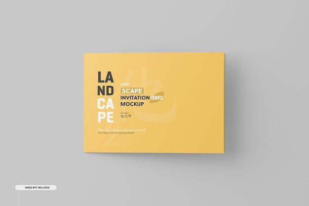 Maquette de carte d'invitation pliée paysage
