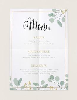 Maquette de carte de menu du restaurant d'aujourd'hui