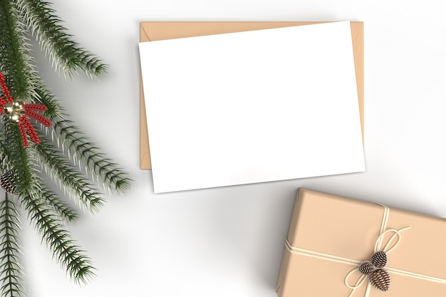 Maquette de carte de noël avec des décorations et des branches de sapin