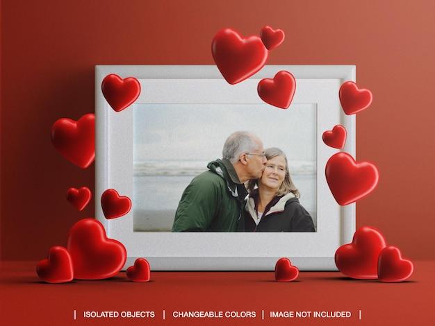Maquette de carte photo cadre pour le concept de la saint-valentin avec des coeurs isolés