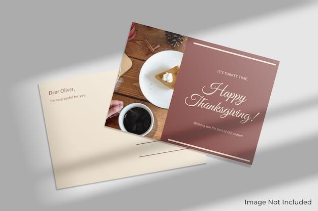 Maquette de carte postale élégante avec ombre
