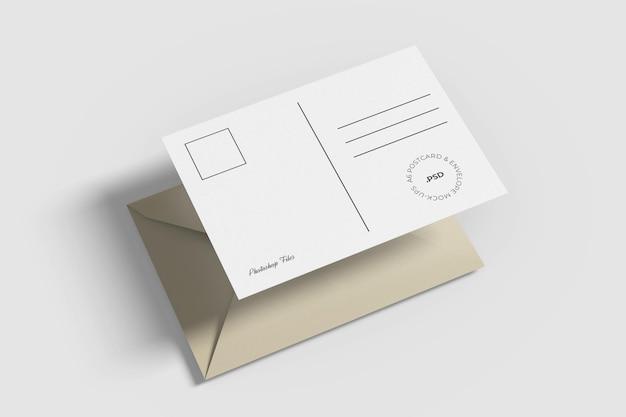 Maquette de carte postale et enveloppe a6