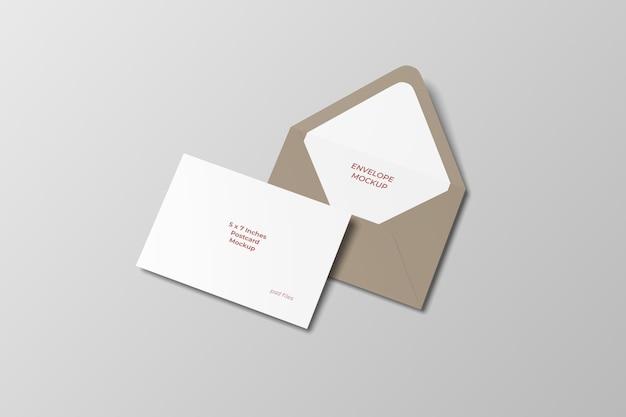 Maquette de carte postale et enveloppe