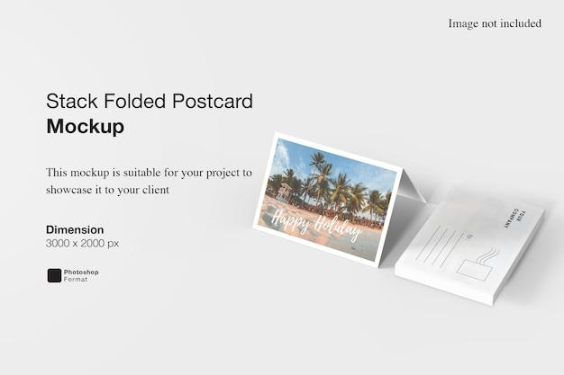 Maquette de carte postale pliée en pile