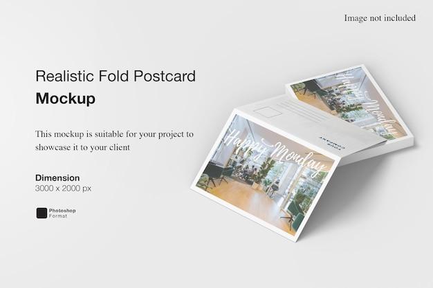 Maquette de carte postale pliée réaliste