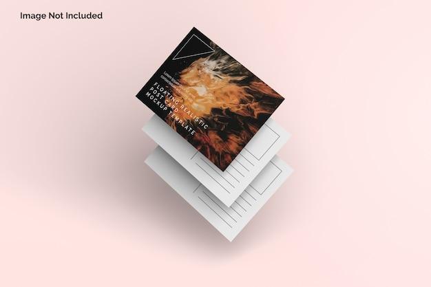 Maquette de carte postale réaliste flottante
