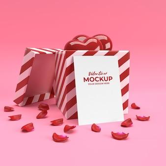 Maquette de carte de saint-valentin 3d avec cadeau coeur et pétales en rendu 3d