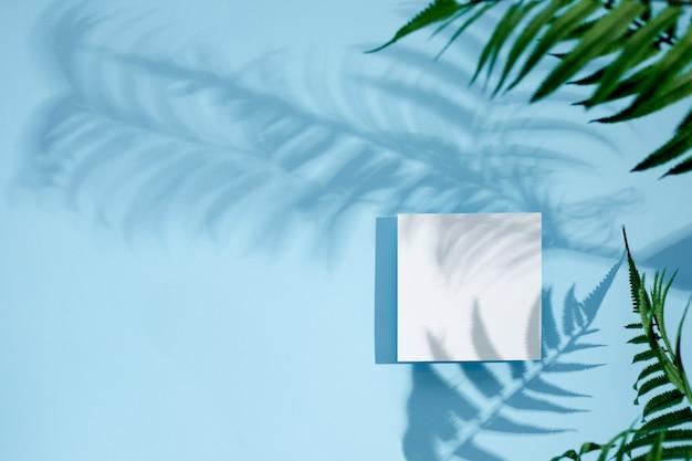 Maquette de carte vierge vide blanche avec des ombres florales