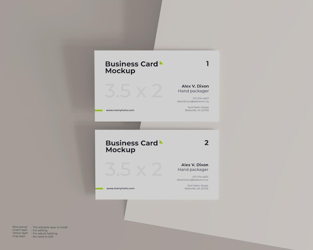 Maquette de carte de visite blanche minimaliste, vue de dessus avant et arrière