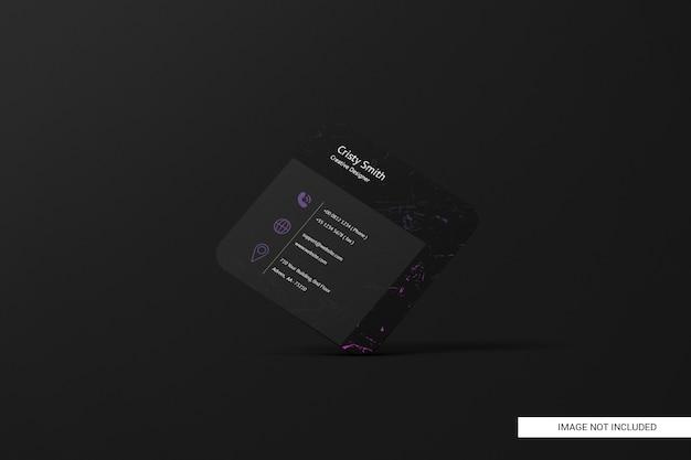 Maquette de carte de visite carrée arrondie noire