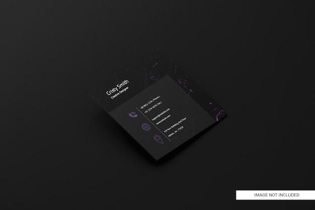Maquette de carte de visite carrée noire