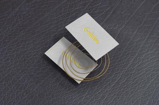 Maquette de carte de visite dorée