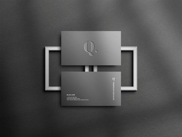 Maquette de carte de visite grise élégante vue de dessus