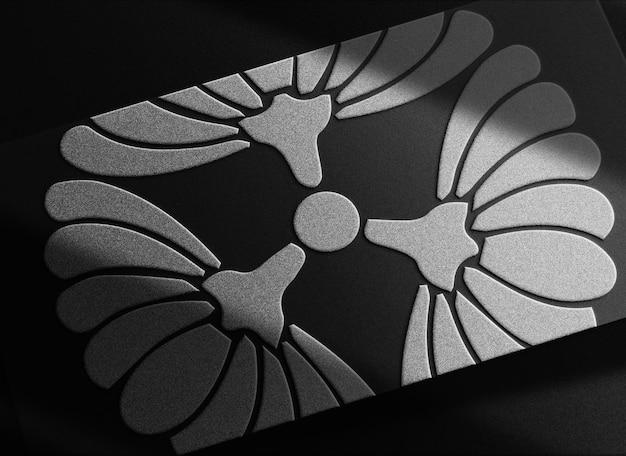 Maquette de carte de visite de luxe en gros plan avec logo en relief argenté