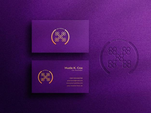 Maquette de carte de visite de luxe avec logo typographique