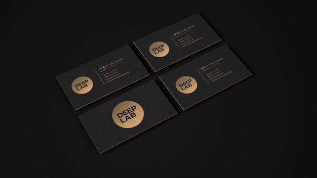 Maquette de carte de visite de luxe en or noir psd