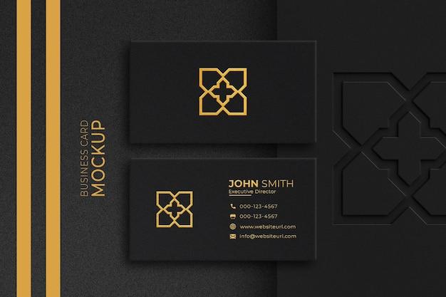 Maquette de carte de visite de luxe en or et noir